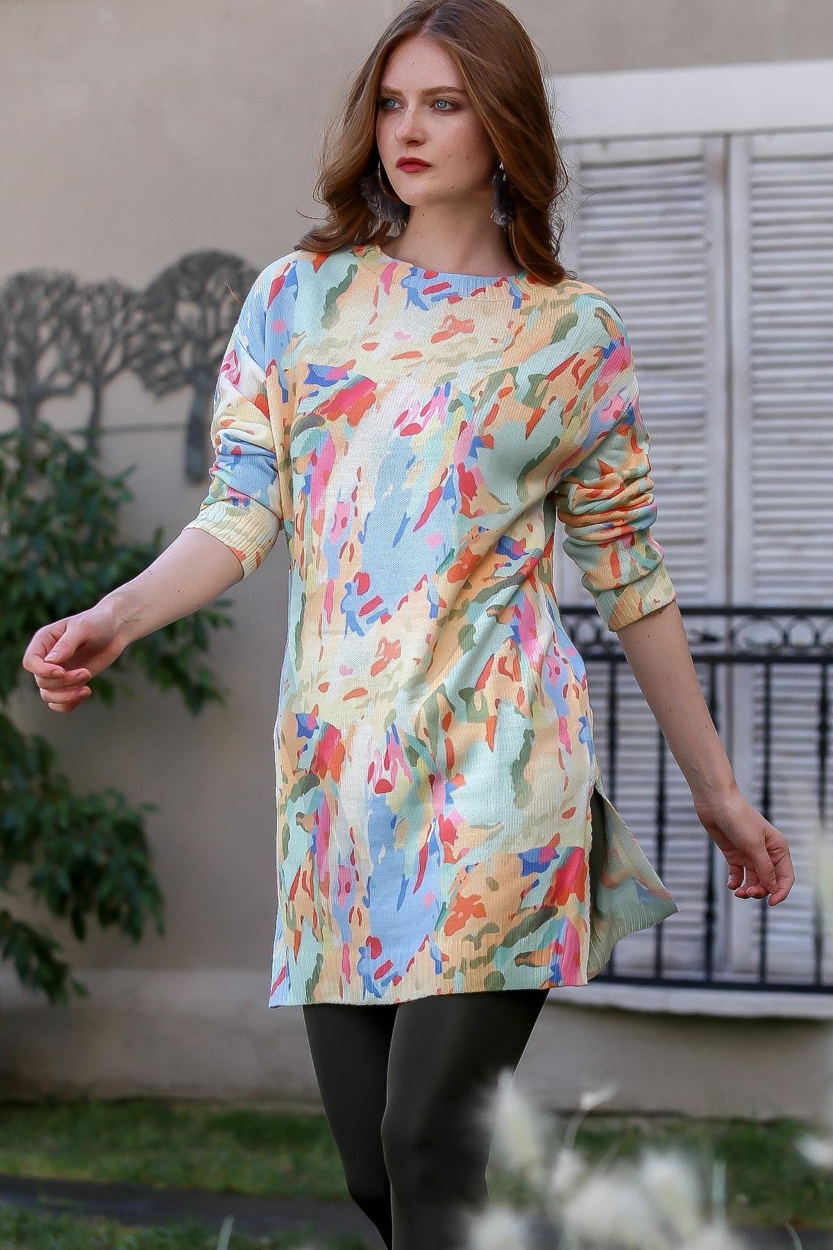 Chiccy Kadın Ekru-Pembe Casual Floral Desenli Tunik Kazak M10010800KZ99462