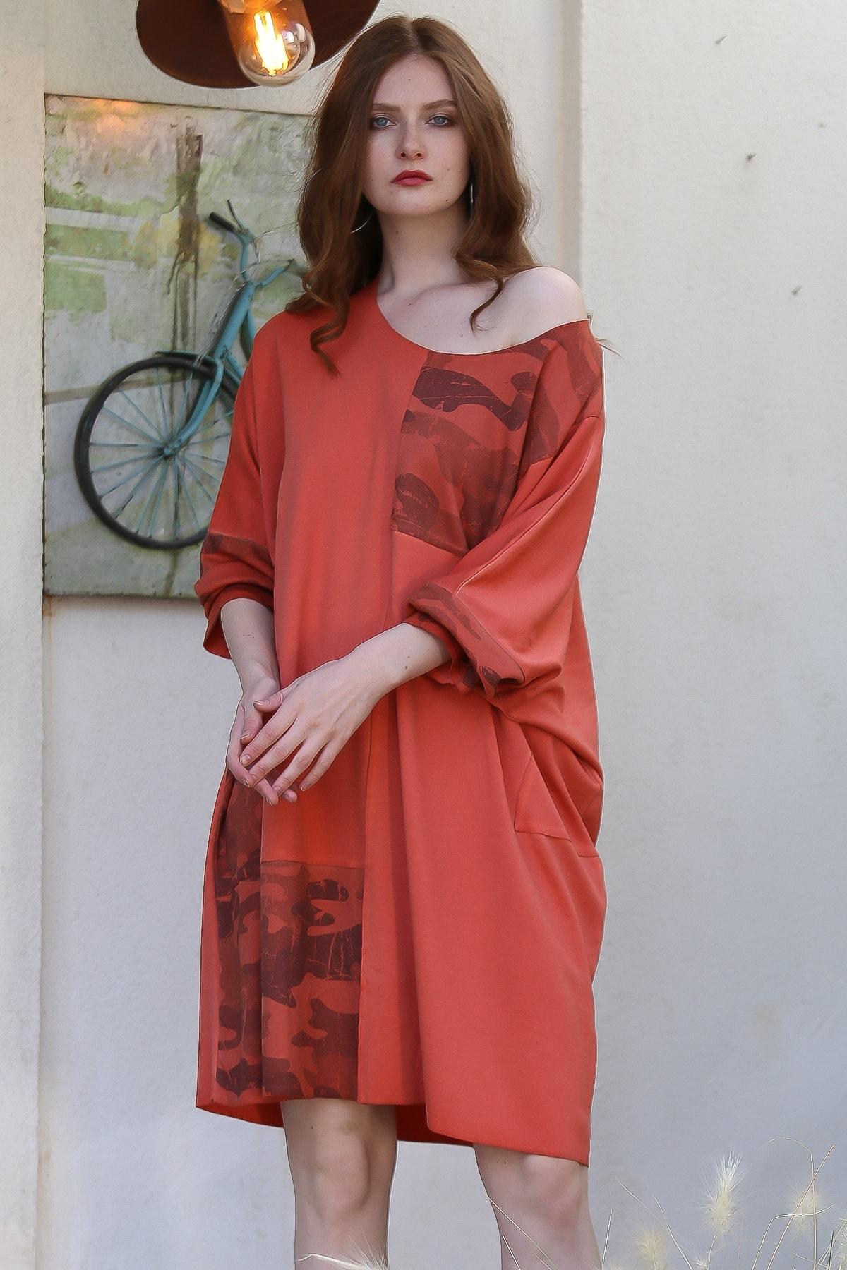 Chiccy Kadın Kiremit Bohem Kamuflaj Bloklu Yıkamalı Oversize Elbise M10160000EL96213