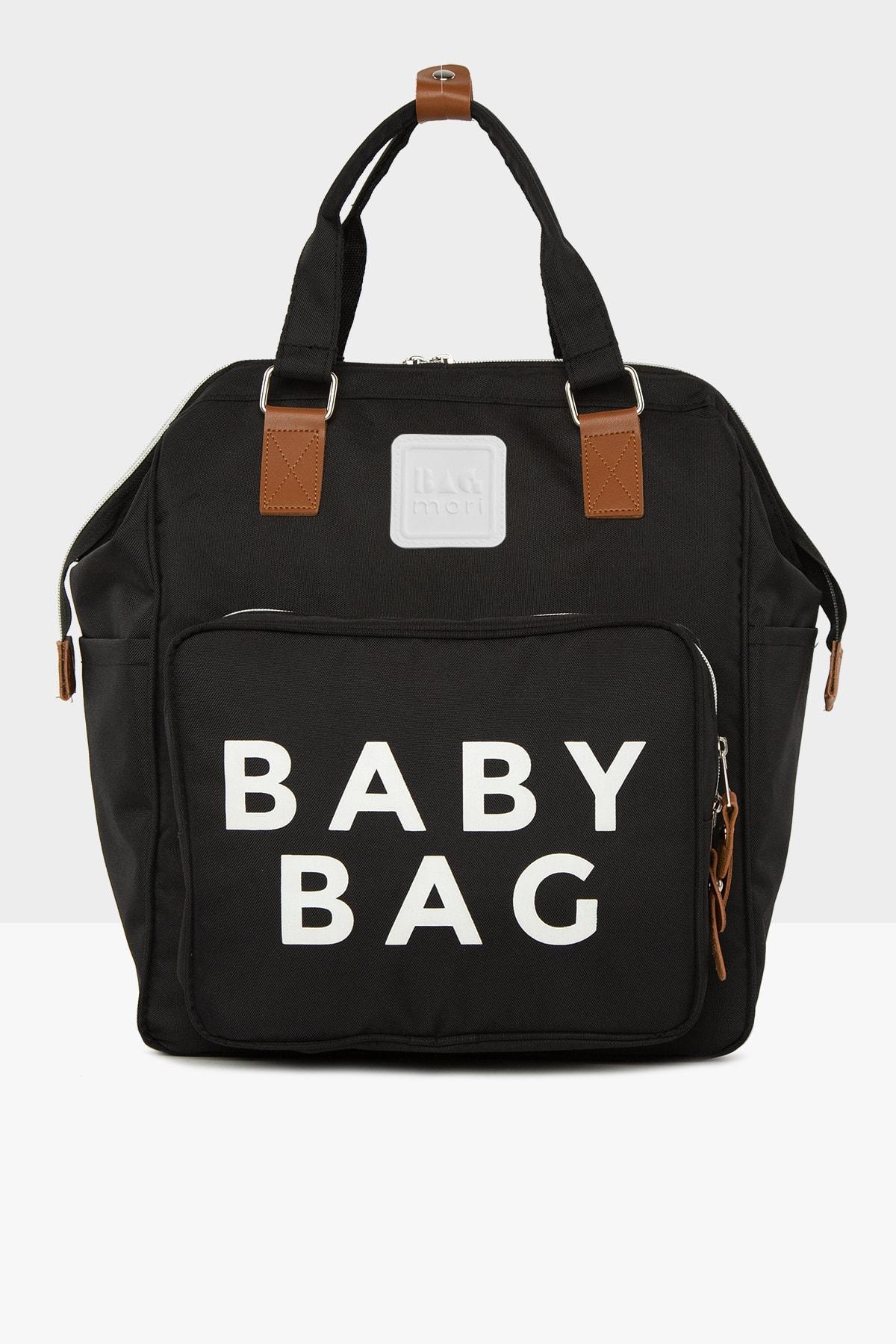 Bagmori Siyah Baby Bag Baskılı Cepli Anne Bebek Bakım Sırt Çantası M000005163