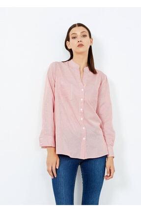 Adze Kadın Kırmızı Çizgili Cepli Gömlek Kırmızı S