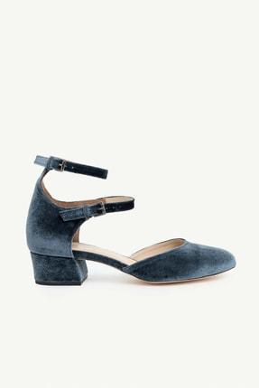 Yargıcı Kadın Mavi Kadife Bilekten Bantlı Topuklu Ayakkabı 0KKAY4022X