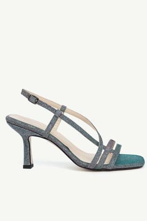 Yargıcı Kadın Mavi Parlak Çok Bantlı Kumaş Topuklu Ayakkabı 0KKAY4020X