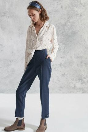 Yargıcı Kadın Lacivert Desenli Paça Detaylı Pantolon 0KKPN3008X