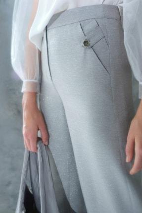 Yargıcı Kadın Gri Düğme Detaylı Pantolon 0KKPN3015X