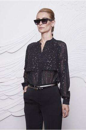 Arzu Kaprol Kadın Siyah Pilise Yaka Detaylı Bluz