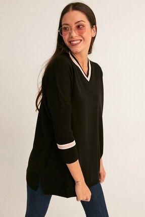 Fulla Moda Kadın Siyah V Yaka Salaş Kazak