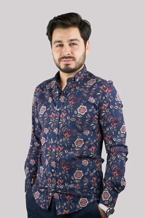 Mcr Erkek Lacivert 37820 Model Çiçekli Pamuklu Gömlek