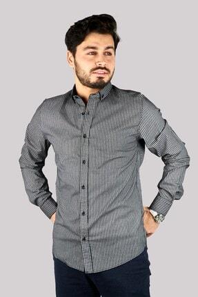 Mcr Erkek Gri Slim Fit Gömlek 37836