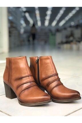 modaayakkabı Kadın Taba Keçeli  Bot