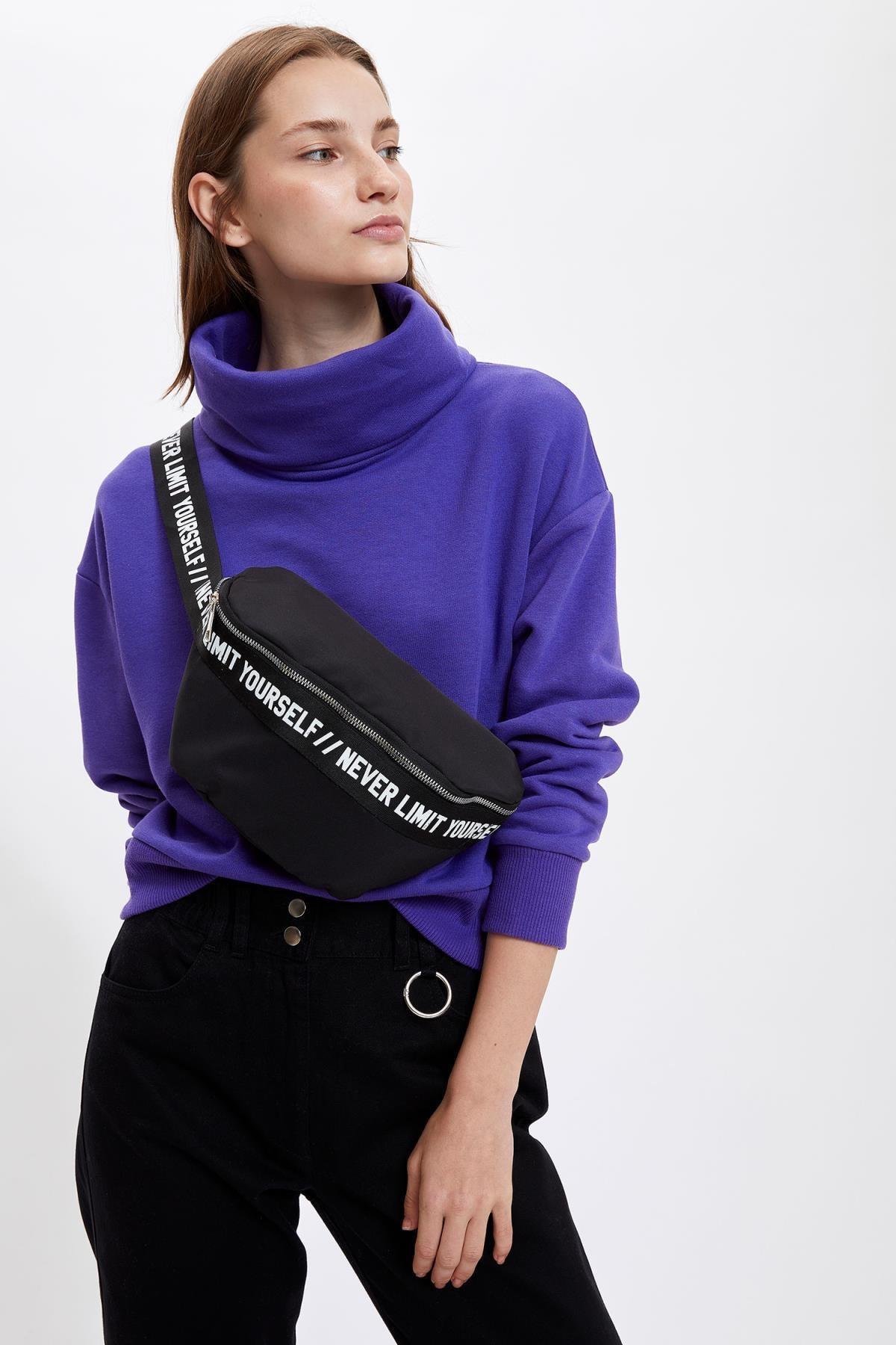 DeFacto Kadın Purple Balıkçı Yaka Crop Top Sweatshirt S9572AZ20AU