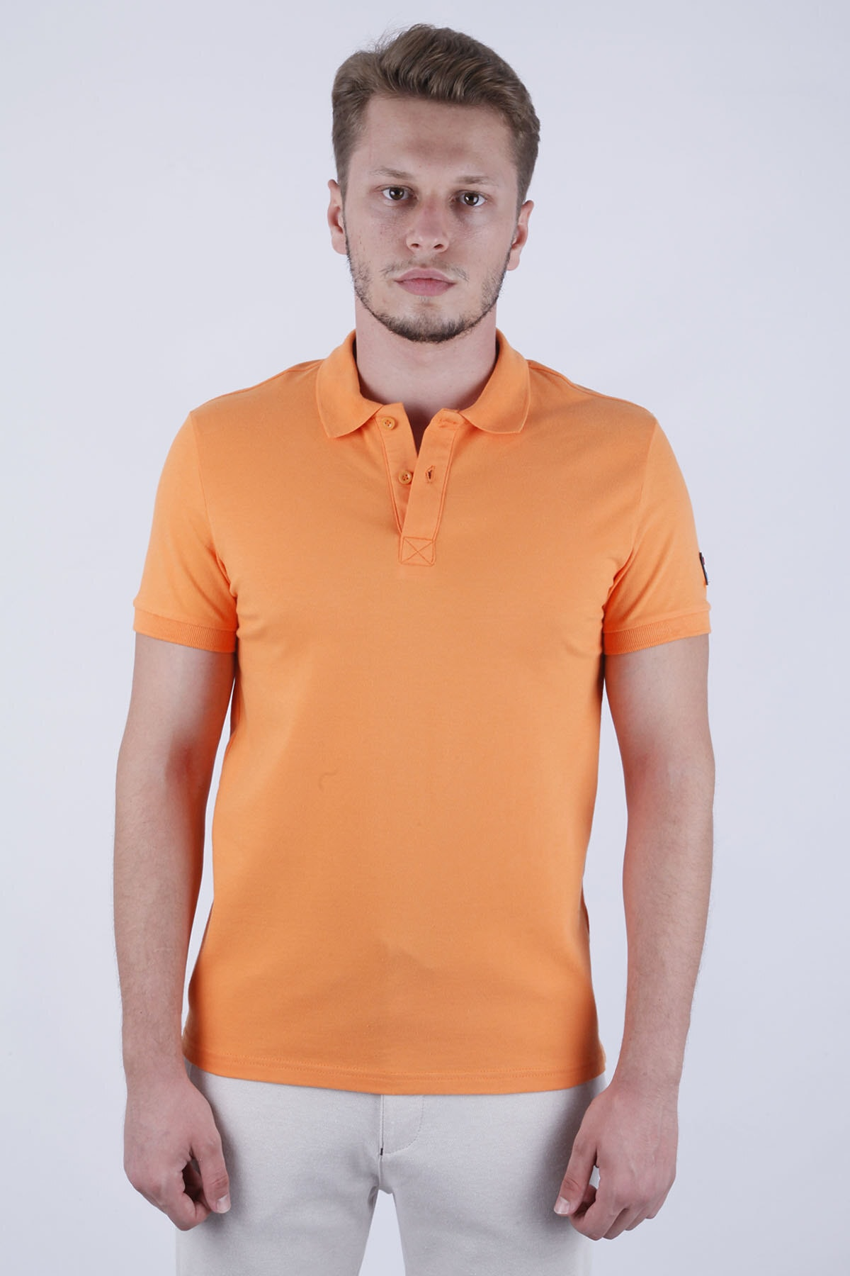 Canelia Erkek Oranj Likralı Pike Slimfit Polo Yaka T-shirt 1