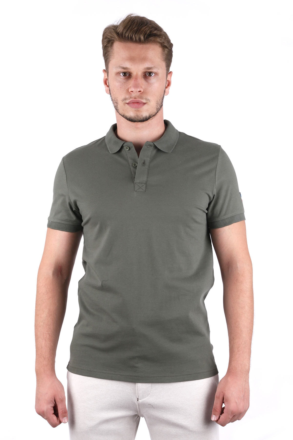 Canelia Erkek Haki Likralı Pike Slimfit Polo Yaka T-shirt 1