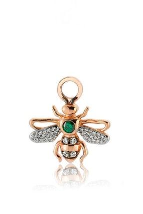 Valori Jewels Kraliçe Arı, Swarovski Zirkon Yeşil Ve Beyaz Taşlı, Rose Gümüş Küpe Charmı