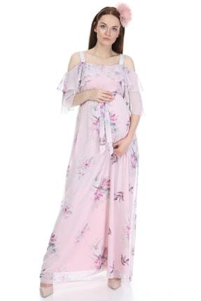 Entarim Kadın Pembe Çiçek Desenli Şifon Hamile Elbise