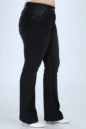 Hanezza Kadın Siyah Ispanyol Paça Kot Pantolon