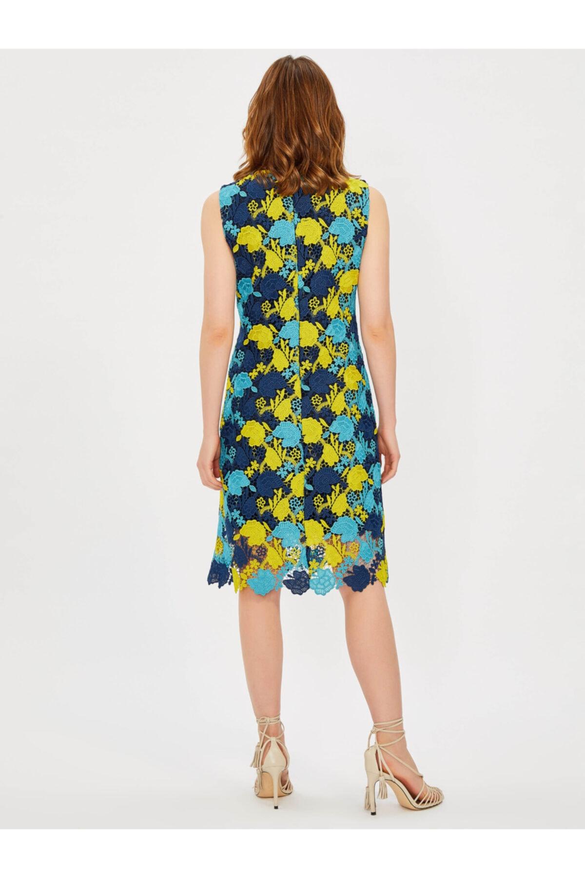 Vekem Kadın Lacivert Kolsuz Yuvarlak Yaka Dantel Elbise 2