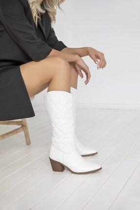 STRASWANS Kadın Beyaz Kapitone Çizme
