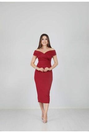 giyimmasalı Kadın Bordo Kayık Yaka Kalem Elbise