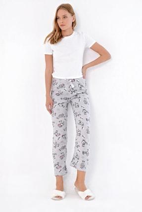 Trend Alaçatı Stili Kadın Grimelanj Desenli Polar Pijama Altı MTX-1012