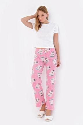 Trend Alaçatı Stili Kadın Pembe Desenli Polar Pijama Altı MTX-1009