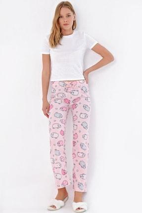Trend Alaçatı Stili Kadın Toz Pembe Desenli Polar Pijama Altı MTX-1009