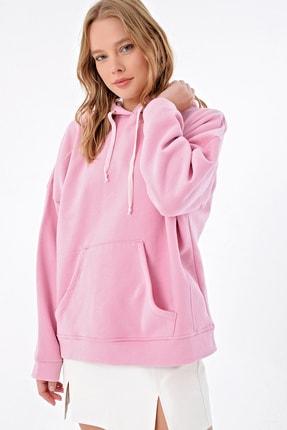 Trend Alaçatı Stili Kadın Pembe İçi Şardonlu Kanguru Cepli Kapşonlu Sweatshırt ALC-X4976