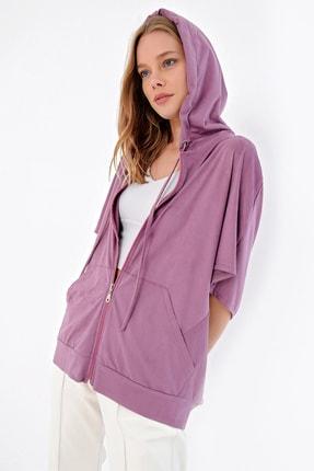 Trend Alaçatı Stili Kadın Lila Düşük Kol Kapşonlu Süet Ceket MDA-ST033