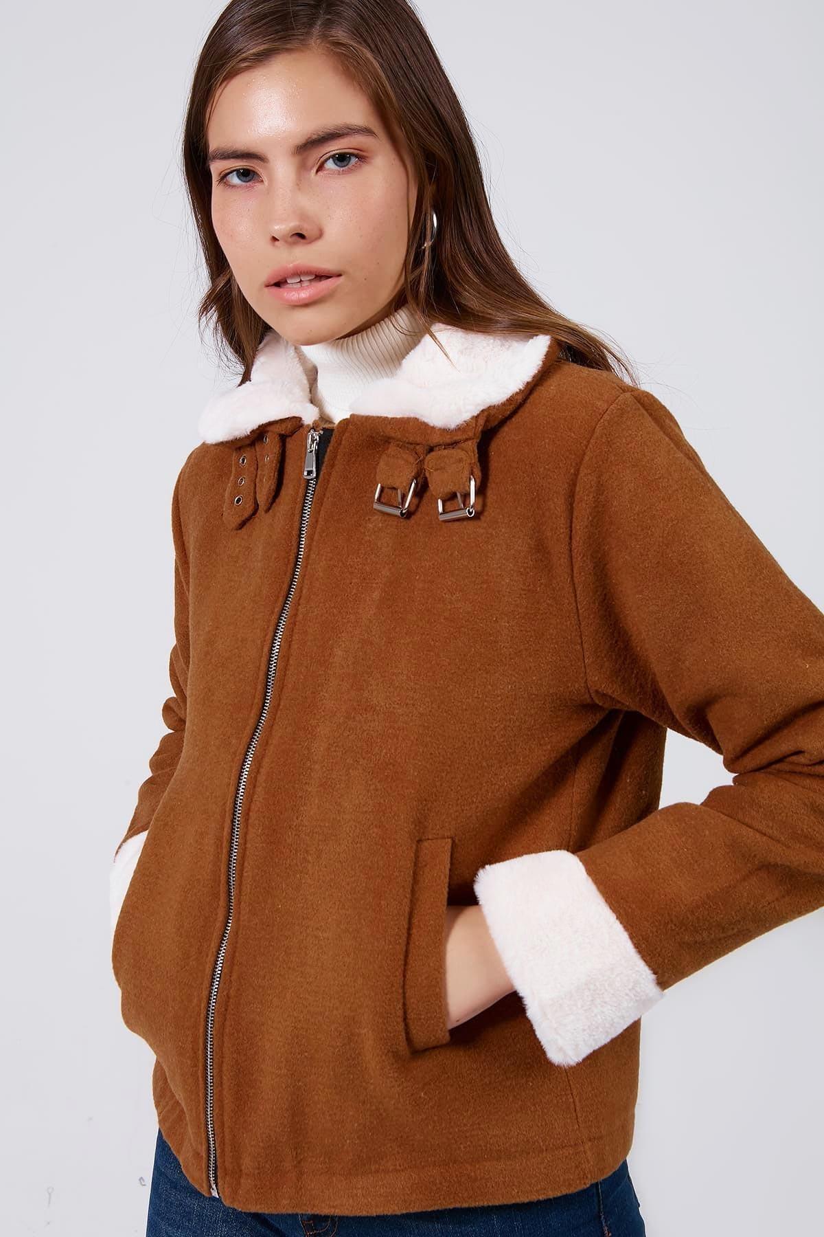 Y-London Kadın Taba Fermuarlı Peluş Yaka Kaşe Ceket Y20W182-8280 1