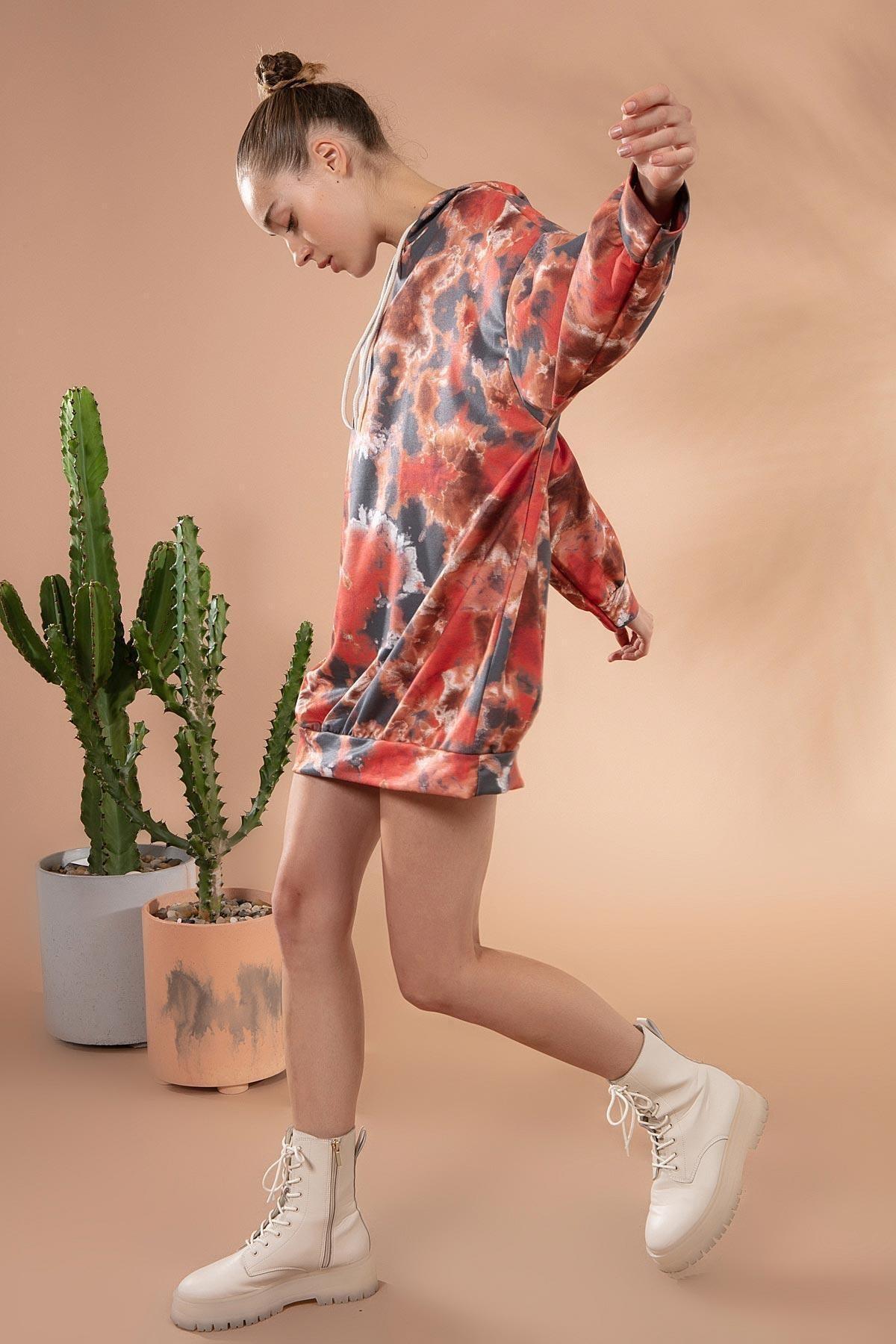 Y-London Kadın Antrasit Batik Desenli Kapşonlu Sweatshirt Elbise Y20W169-1492-1 2