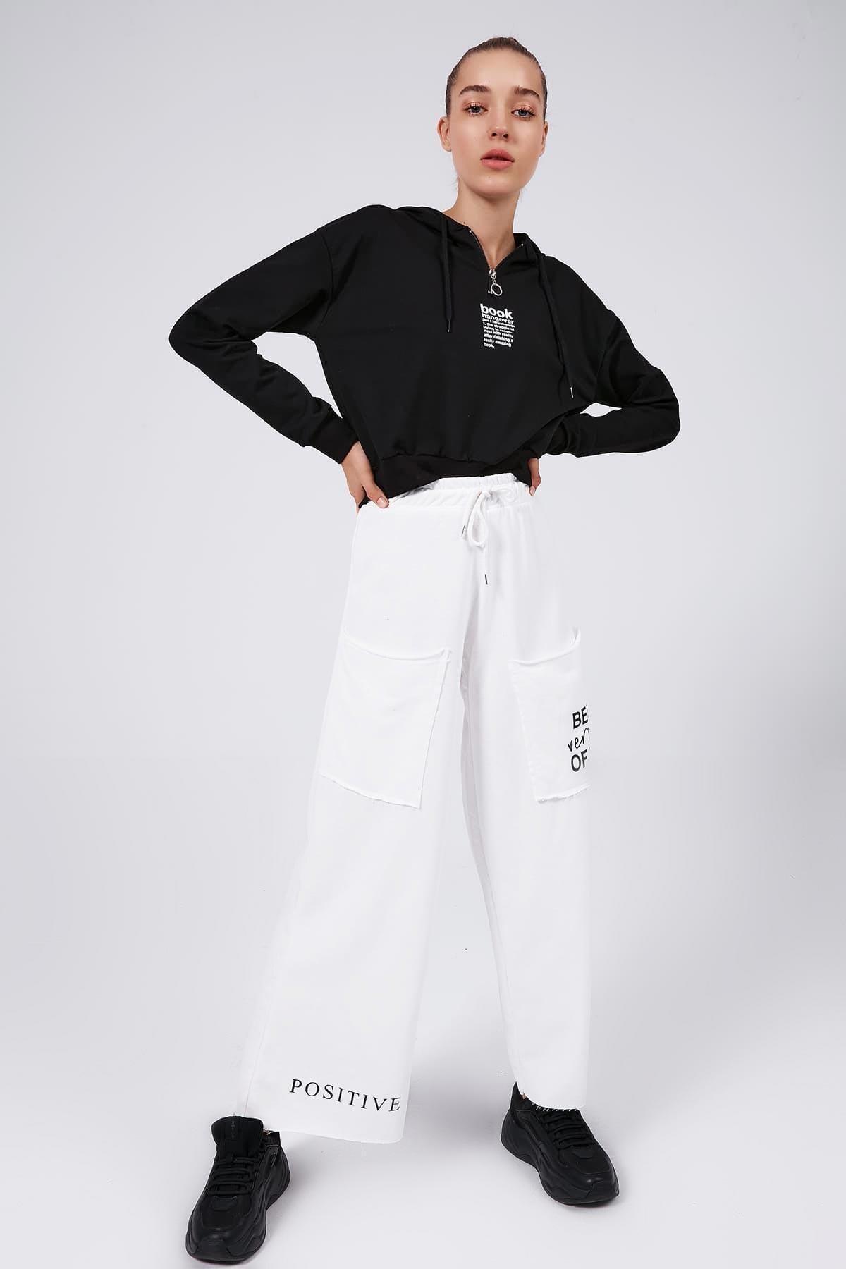 Y-London Kadın Beyaz Cep Detaylı Bol Paça Eşofman Altı Y20W166-3927 1