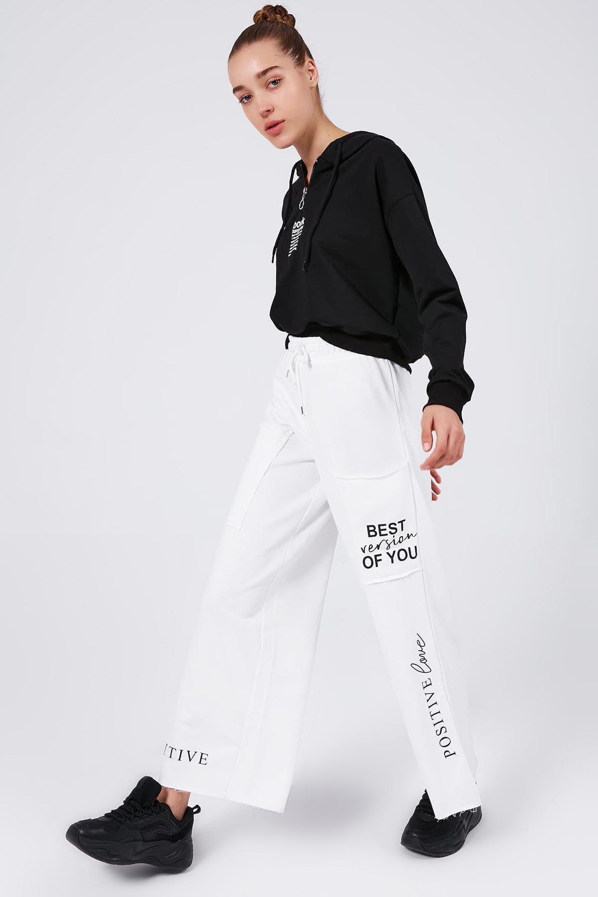 Y-London Kadın Beyaz Cep Detaylı Bol Paça Eşofman Altı Y20W166-3927 2