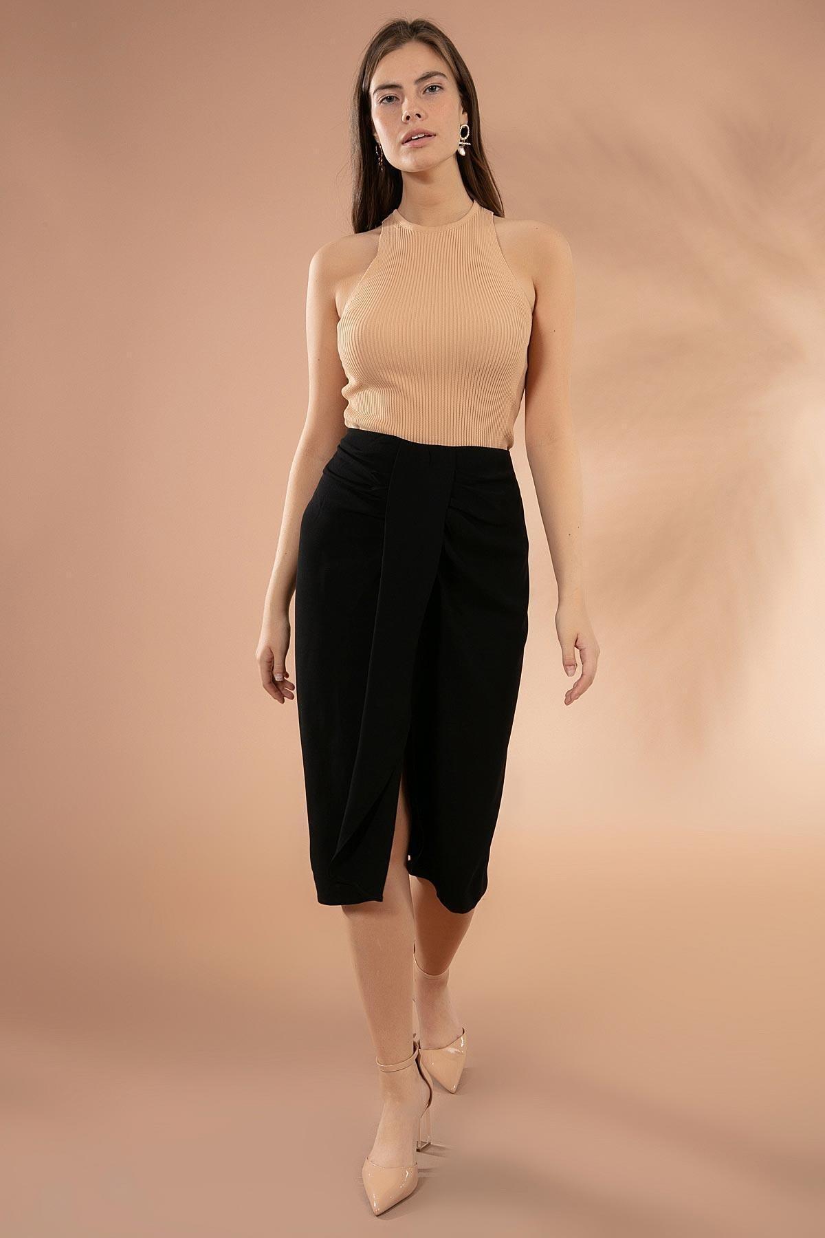 Y-London Kadın Siyah Drapeli Yırtmaçlı Kalem Etek Y20W181-8105 1
