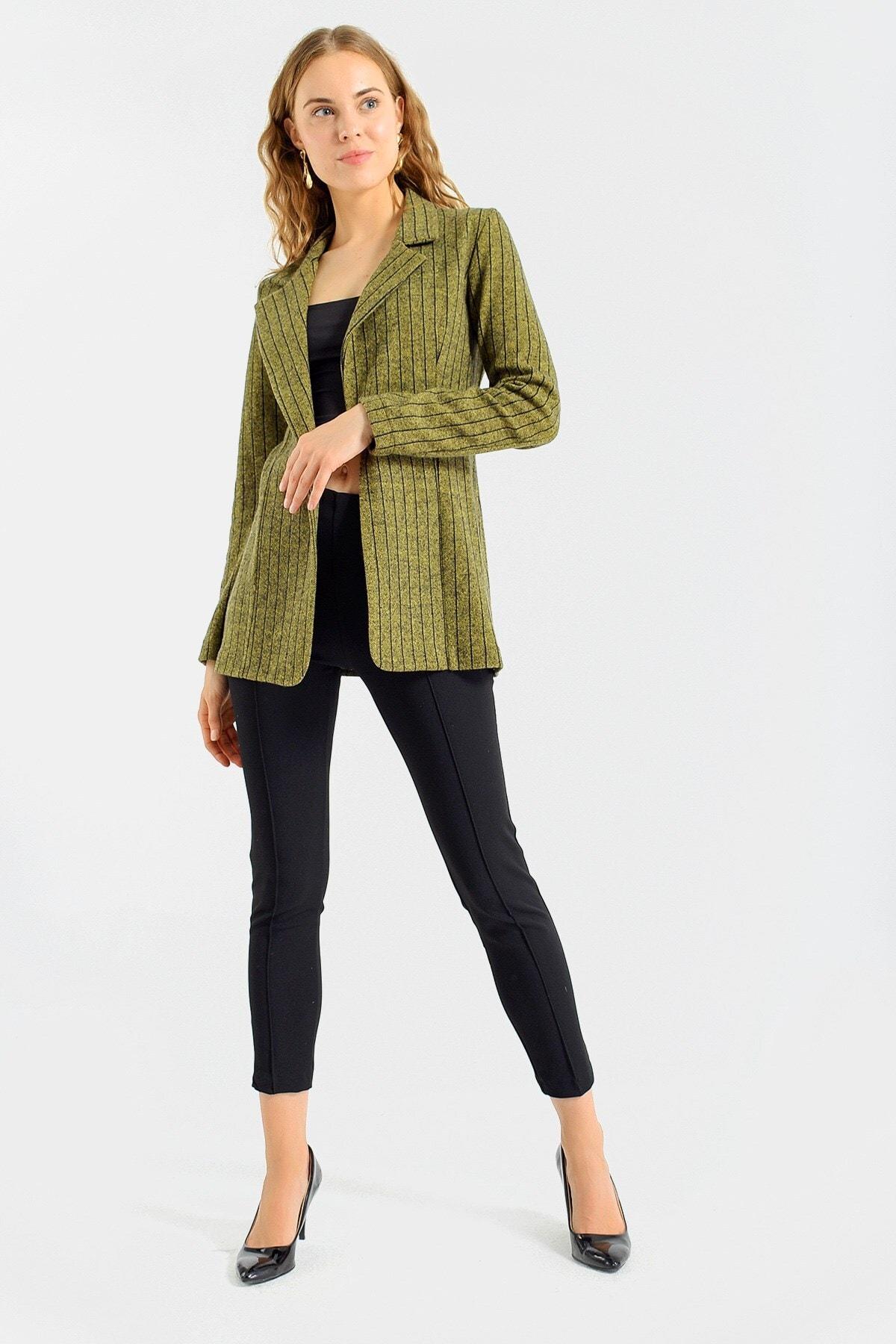 Jument Kadın Hardal Çizgi Kadın Çizgi Desenli Kışlık Uzun Kaşe Ceket-Hardal Çizgi 30027