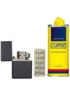 Zippo Siyah Çakmak  Clipper Benzin 133 ml 20 li Çakmak Taşı
