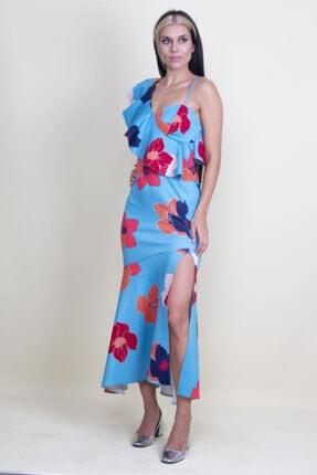 Şans Kadın Mavi Tek Omuz Askılı Yırtmaçlı Çiçek Desenli Elbise