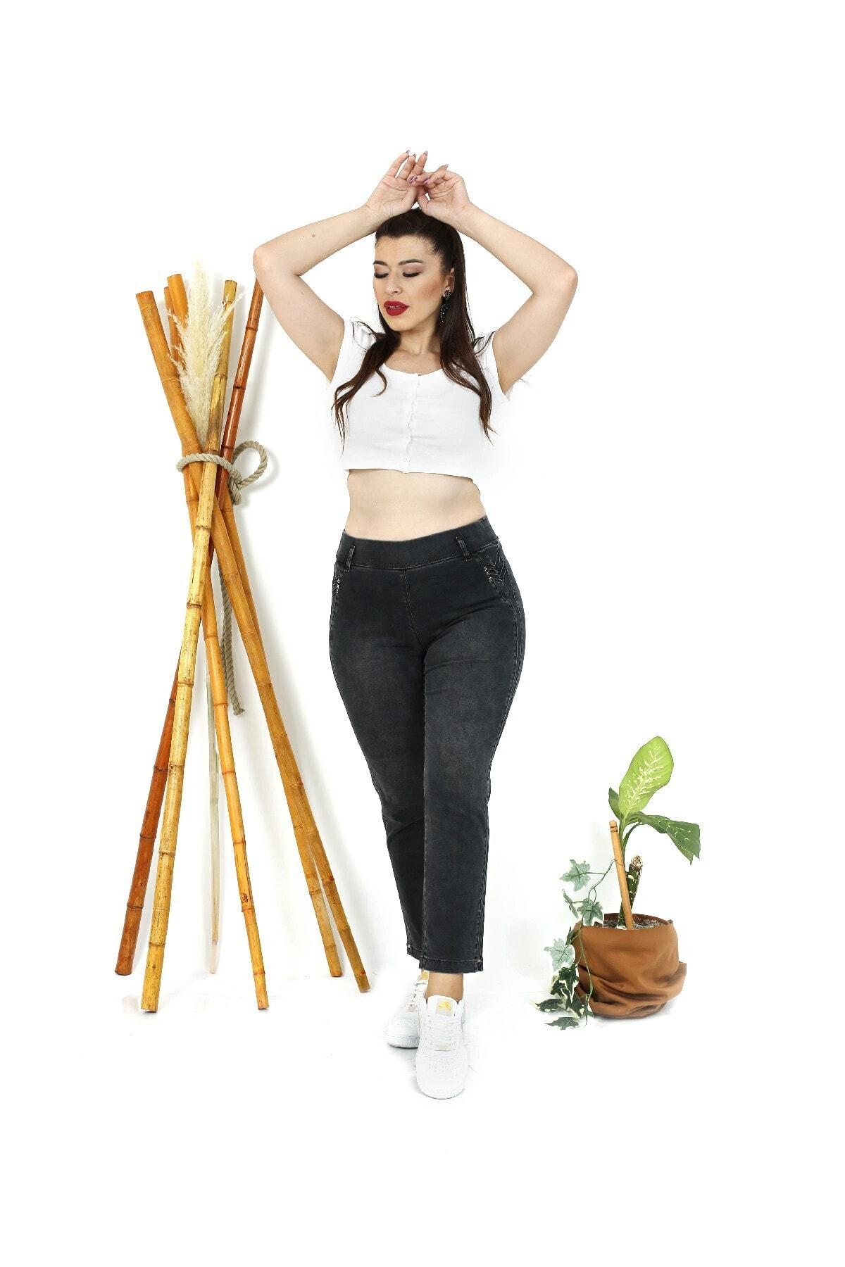 EXİTLİNE Kadın Siyah Nervürlü Şeritli Pantolon 1