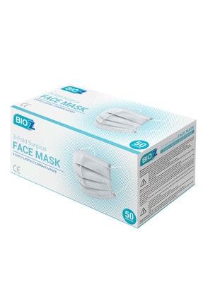 Bioz 3 Katlı Lastikli Cerrahi Maske Karton Kutu 50 Adet