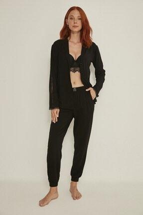 C&City Esperanza Kadın Siyah Gömlek-pantolon Modal Pijama Takım 9032