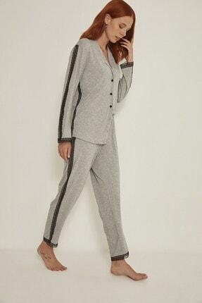 C&City Esperanza Kadın Gri Gömlek-pantolon Modal Pijama Takım 9035