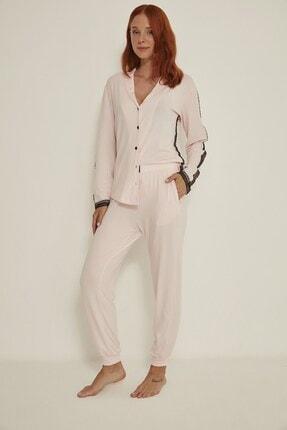 C&City Kadın Pembe Esperanza Gömlek-pantolon Modal Pijama Takım 9032