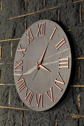 bluecape 50cm Siyah Mermer Desenli Bronz Antik Roma Rakamlı Duvar Saati