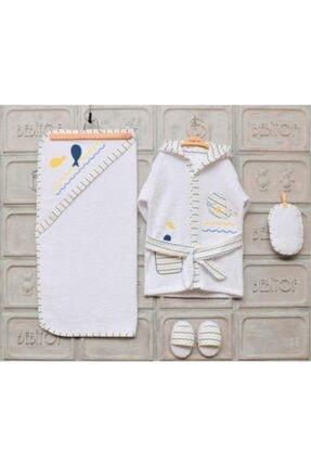 Bebitof Unisex Bebek Sarı Beyaz Balina ve Yengeç Banyo Seti