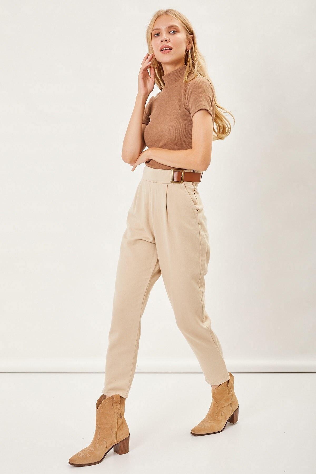 Arma Life Kadın Taş D Kemerli Gabardin Pantolon 2