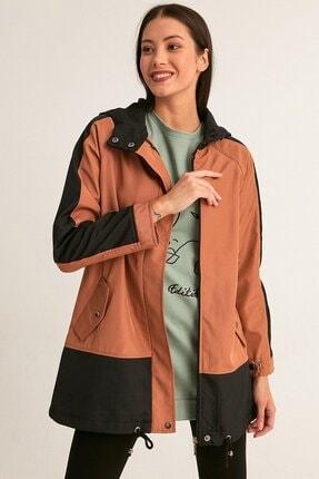 Fulla Moda Kadın Kahverengi Kapüşonlu Trençkot
