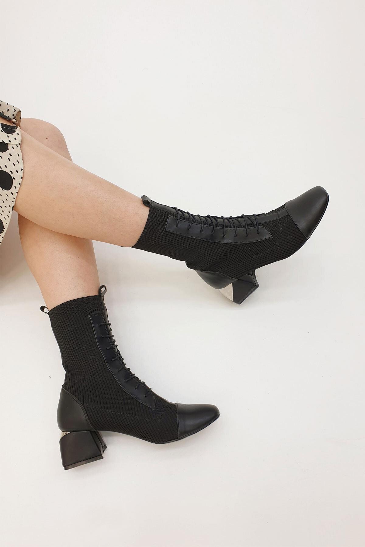 Marjin Larin Kadın Çorap Topuklu Botsiyah 1