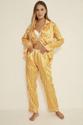 C&City Kadın Hardal/Ekru Ruby Durham Saten Uzun Kol Gömlek Pantolon Takım