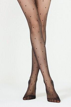 Penti Kadın Siyah Penti Trendy Stil Desenli Külotlu Çorap