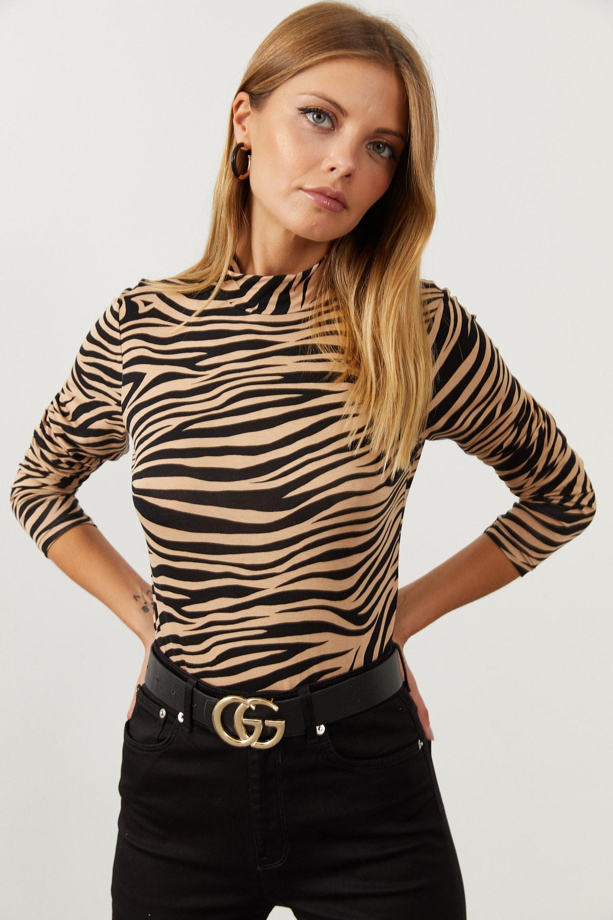 Cool & Sexy Kadın Camel-Siyah Yarım Balıkçı Zebra Desen Bluz LPP1133 2