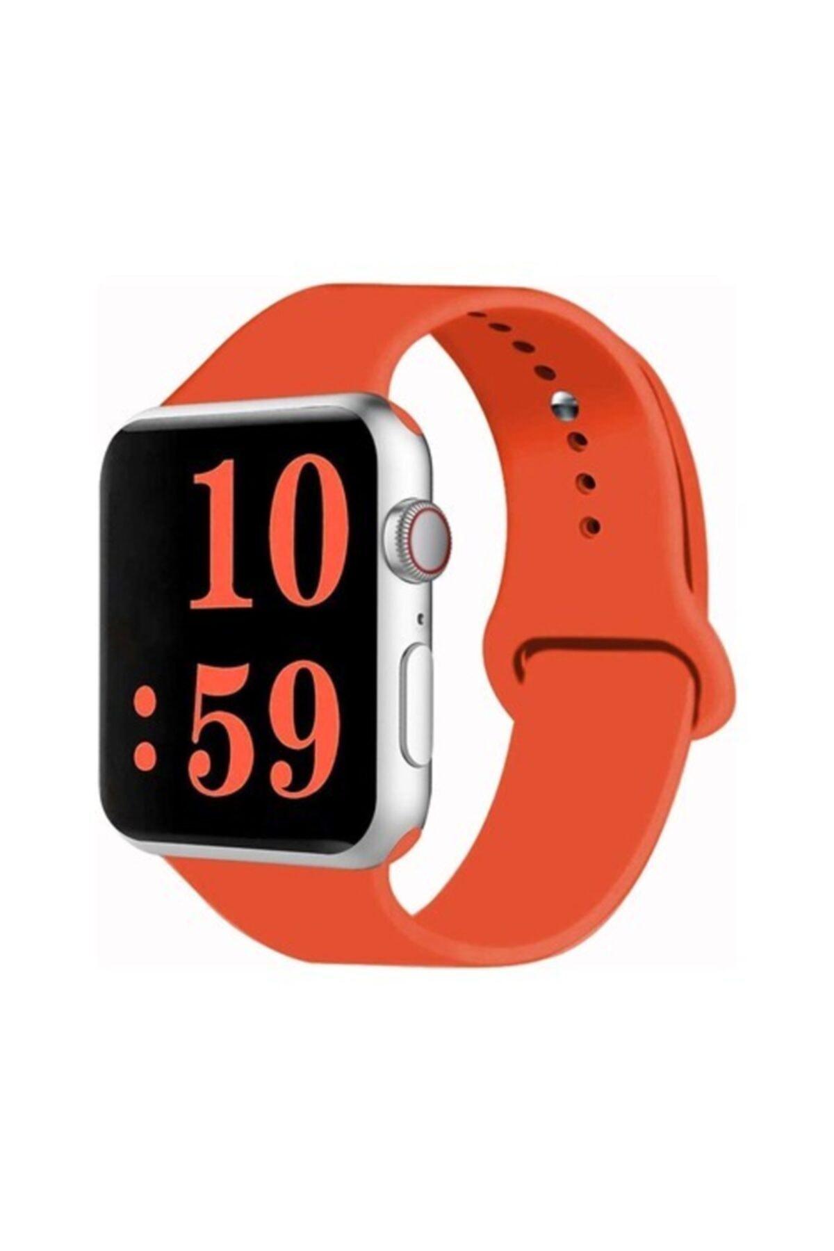 Bilişim Aksesuar Turuncu Apple Watch Spor Kordon Silikon Kayış 38 - 40 mm 1