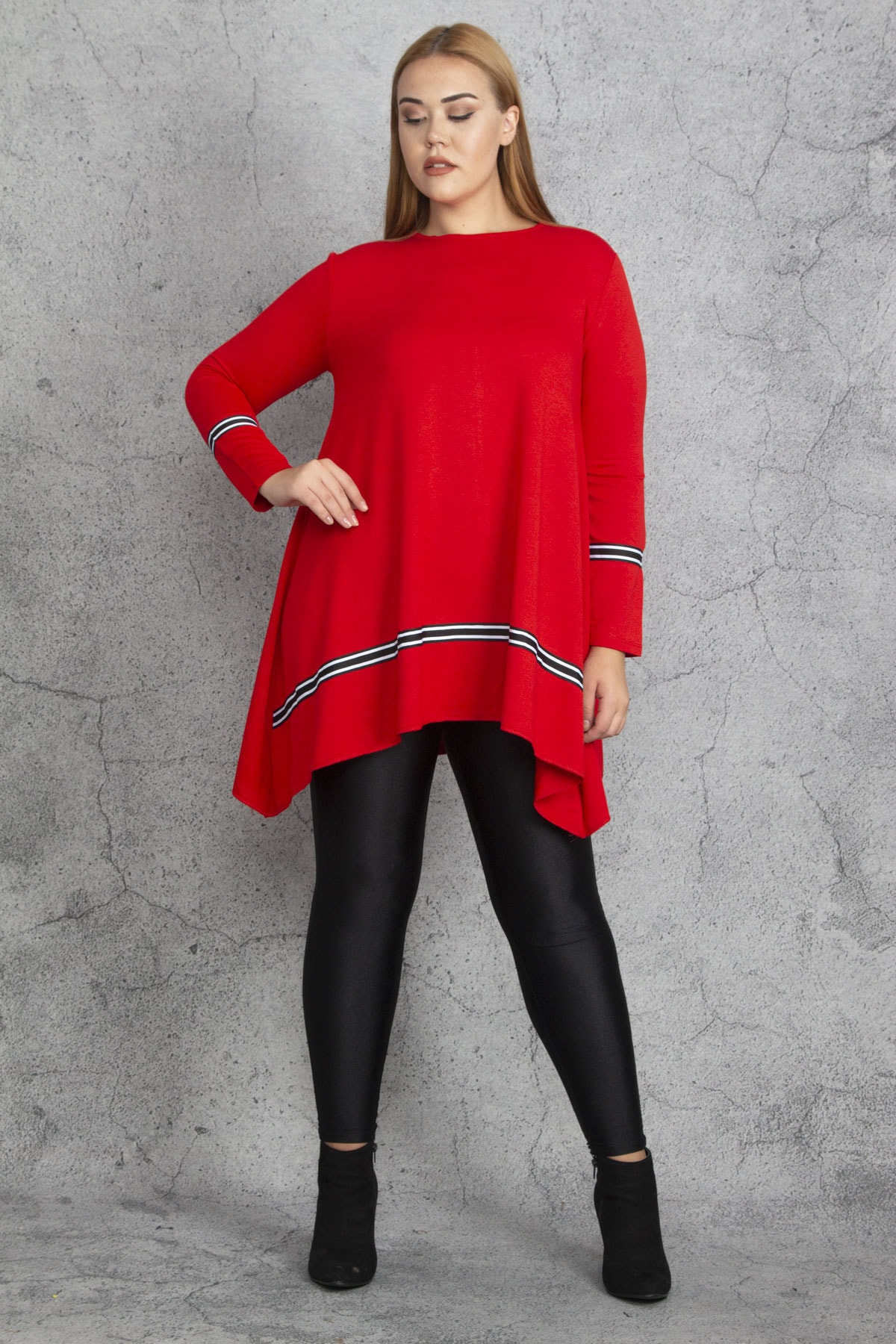 Şans Kadın Kırmızı Ribana Detaylı Tunik 65N18830 1